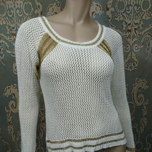 Buffalo David Bitton Crochet Sweater Cream Gold